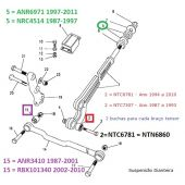 Kit 4 Buchas Tensor Dianteiro (Em Poliuretano) - Land Rover Defender / Discovery 1 1989-1999 / Range Rover Classic 87-90 - BSC206P NTC6860 - Marca Bearmach